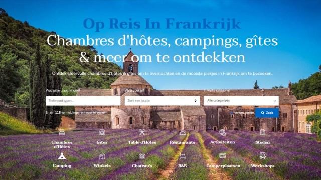 Home page website op reis in frankrijk