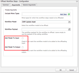 Open the Arguments tab, and unselect the Add Model To Input and Add Model To Output options