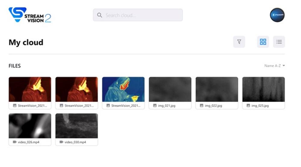 Mobilna aplikacija Pulsar Stream Vision 2 - Shranjevanje slik in posnetkov v oblaku (vir slike: Pulsar)