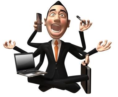 dibujo ejecutivo agobiado por multitarea GTD: Por Qué la Gente Brillante tarda más en Decidir