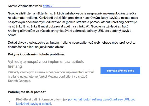Nesprávná implementace atributu hreflang na webu