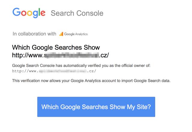 Automatické ověření webu v Search Console díky Google Analytics.