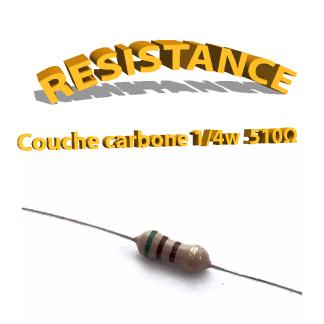 Résistance 510 ohm à couche Carbone 1/4W