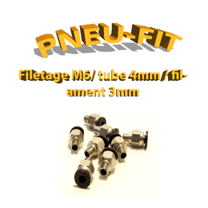 Pneufit noir M6 - tube 4mm - filaments 3mm