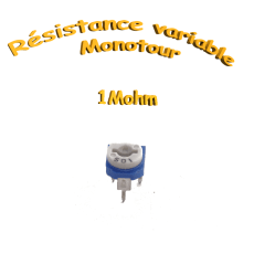 résistance variable mono-tours 1Mohm,Potentiomètre ajustable 1Mohm