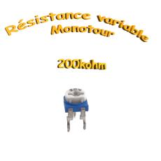 résistance variable mono-tours 200kohm, Potentiomètre ajustable 200kohm
