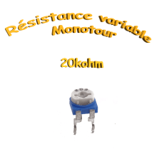 résistance variable mono-tours 20kohm, Potentiomètre ajustable 20kohm