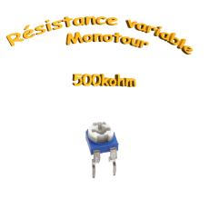 résistance variable mono-tours 500kohm, Potentiomètre ajustable 500kohm