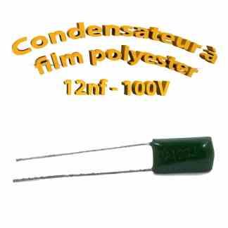 Condensateur à film polyester 12nf - 100Volt - Code:123
