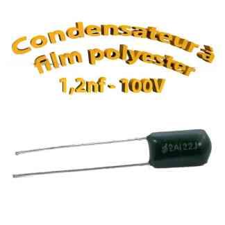 Condensateur à film polyester - 1,2nf - 100Volt - Code:122