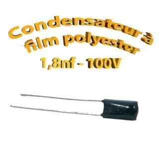 Condensateur à film polyester 1,8nf - 100Volt - Code:182