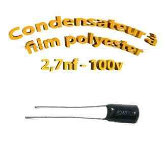 Condensateur à film polyester 2,7nf - 100Volt - Code:272