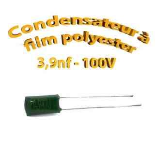 Condensateur à film polyester 3,9nf - 100Volt - Code:392