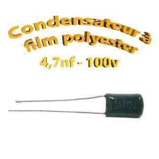 Condensateur à film polyester 4,7nf - 100Volt - Code:472