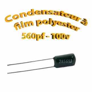 Condensateur à film polyester 560pf - 100Volt - Code:561
