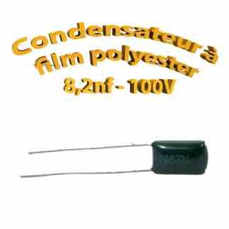 Condensateur à film polyester 8,2nf - 100Volt - Code:822