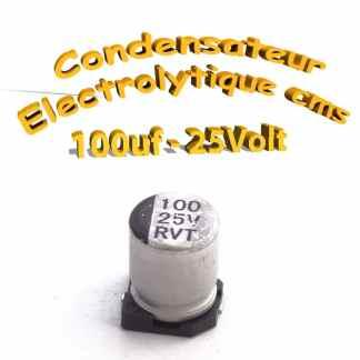 Condensateur électrolytique CMS - SMD 100uF 25v