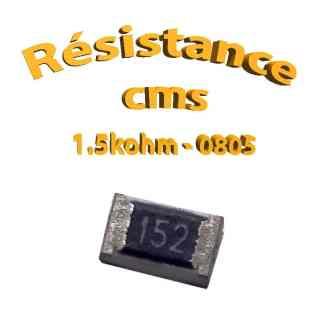 Résistance cms 0805 1,5kohm 1% 1/8w