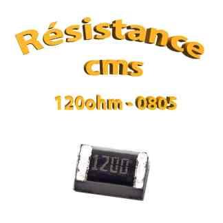 Résistance cms 0805 120ohm 1% 1/8w