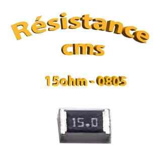 Résistance cms 0805 15ohm 1% 1/8w