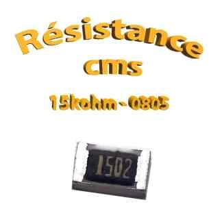 Résistance cms 0805 15kohm 1% 1/8w