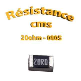 Résistance cms 0805 20ohm 1% 1/8w