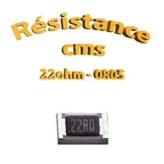 Résistance cms 0805 22ohm 1% 1/8w