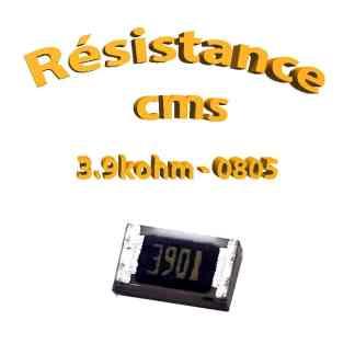 Résistance cms 0805 3.9kohm 1% 1/8w