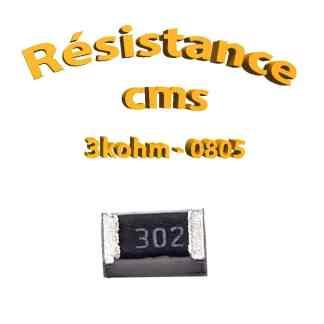 Résistance cms 0805 3kohm 1% 1/8w