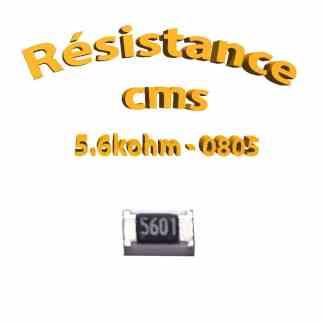 Résistance cms 0805 5.6kohm 1% 1/8w