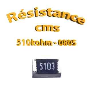 Résistance cms 0805 510kohm 1% 1/8w