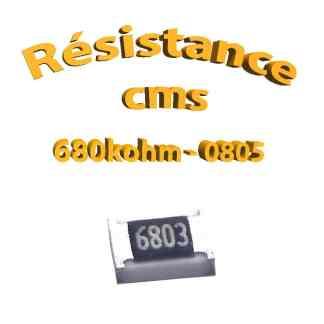 Résistance cms 0805 680kohm 1% 1/8w