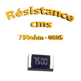 Résistance cms 0805 750ohm 1% 1/8w