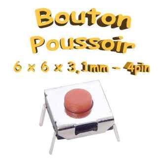 Bouton Poussoir 6x6x3.1mm - 4pin - à souder pour CI