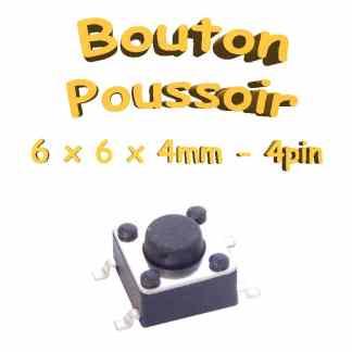Bouton Poussoir 6x6x4mm - 4pin - à souder pour CI