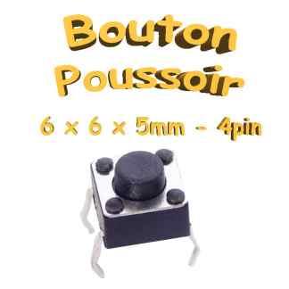 Bouton Poussoir 6x6x5mm - 4pin - à souder pour CI - Traversant