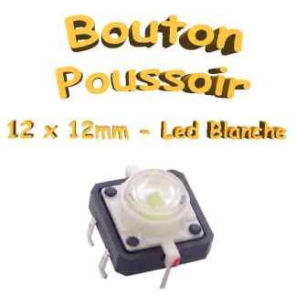 Bouton Poussoir LED intégrée blanche 12x12mm - 6pin - à souder pour CI