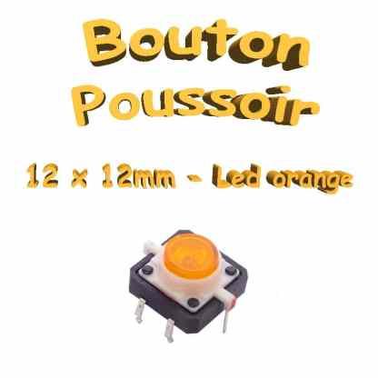 Bouton Poussoir LED intégrée orange 12x12mm - 6pin - à souder pour CI