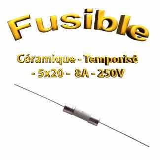 Fusible Temporisé 8A 250v -T5AL250V - à souder -5x20mm