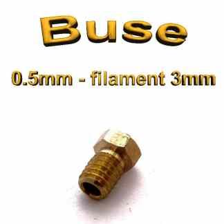 Buse E3D 0.5mm 3mm - laiton - M6 - (compatible)