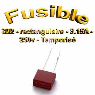 Fusible Temporisé rectangulaire 392 - 3.15A 250v - à souder - 8.5 x 8 x 4mm