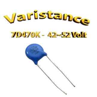 7D470K - Varistance 42〜52 Volt - 0.02W - oxyde zinc