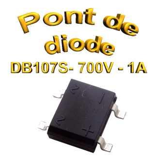 DB107S - Pont de diodes 1A -1000V - 700v rms - CMS/SMD