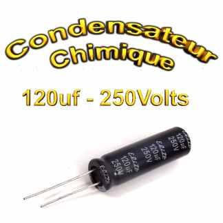 Condensateur chimique 120uF - 250V - 12.5x40mm - 20%