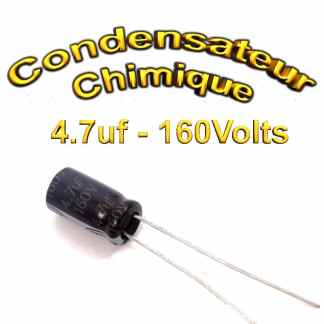 Condensateur chimique 4,7uF - 160V - 6.3x11mm - 20%