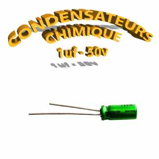 Condensateur chimique 1uF - 50V - 5x11mm non polarisé