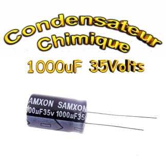 Condensateur électrolytique polarisé 1000uF 35V- 12,5x20mm - 20%