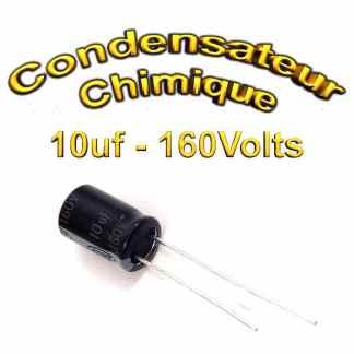 Condensateur électrolytique polarisé 10uF 160V 8x11,5mm 20%