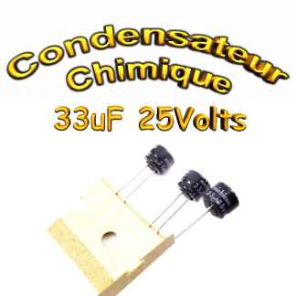 Condensateur électrolytique polarisé 33uF 25V- 6,3x5mm – 20%