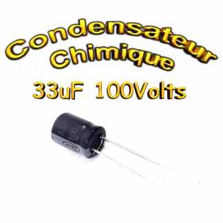 Condensateur chimique 33uF - 100V - 8x11mm - 20%
